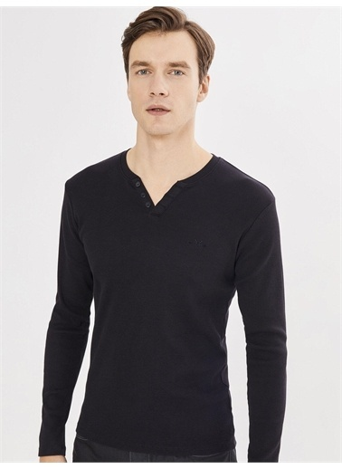 MCL MCL Patlı Yaka Pamuklu Tişört Siyah